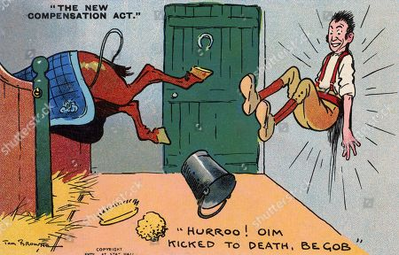 The New Compensation Act - 'Hurroo! Oim Kicked to Death Be Gob!' - A Yokel Stable Lad is not Unduly Concerned at Being Kicked Against the Stable Wall As the Workmen's Compensation Act of 1906 Allowed Working People the Right to Claim For Compensation For Personal Injury Suffered During Their Employment. . Comic Postcard Illustration by Tom Browne (1870-1910)