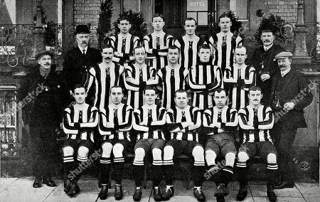 Photograph of the Newcastle United Football Team of the 1907-1908 Season. the Players and Staff Shown Are: Back Row Left to Right: W. Mccracken D. Pudan P. Mcwilliam J. Carr. Middle Row Left to Right: J. Bell (vice-chairman) A. Mccombie F. Speedie D. Willis J. Lawrence J. Rutherford J.p. Oliver (director). Front Row Left to Right: J.q. Mcpherson (trainer) C. Veitch A. Gosnell J. Howie W. Appleyard A. Gardner G. Wilson F.g. Watt (secretary). the Graphic. 1908. Top of Page 583.