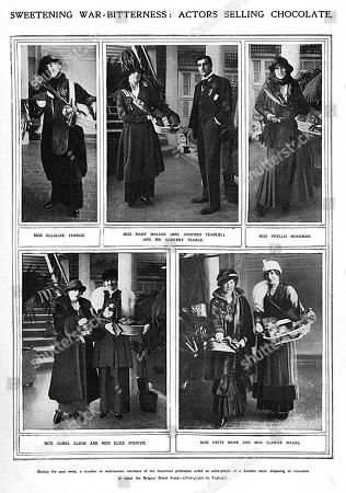 A Page From the Sketch Showing Various Well-known Members of the Theatrical Profession Acting As Sales-people at an Unidentified London Store Disposing of Chocolate in Order to Assist the Belgian Relief Fund. Clockwise From Top Left Miss Ellaline Terriss Miss Mary Malone and Mr Godfrey Tearle (her Husband) Miss Phyllis Monkman Miss Unity More and Miss Clarice Mayne Miss Isobel Elsom and Miss Elsie Spencer. Page From the Sketch, 20 January 1915