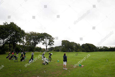 Players warm up on the driving range at the PREM Group Irish Masters Pro Am at the stunning Tulfarris Hotel & Golf Resort, Blessington, Co Wicklow. The PREM Group Irish Masters is the penultimate tournament on the EuroPro Tour and takes place at Tulfarris Hotel & Golf Resort from Wednesday August 29th-Friday August 31st. Some of the famous names to take part in the Pro Am competition were Niall Quinn, Shane Byrne, Stephen Hunt and Martin Delany, and they were led out by Tulfarris Touring Professional Simon Thornton