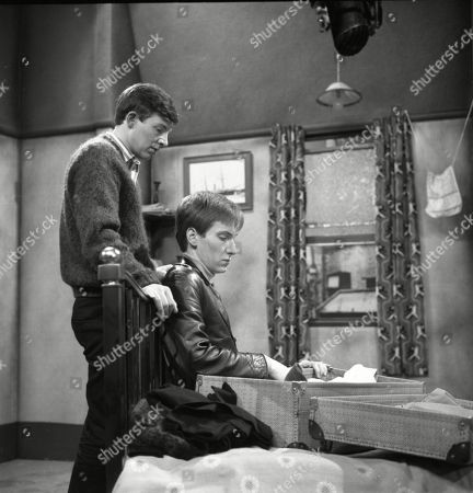 Philip Lowrie (as Dennis Tanner) and Christopher Sandford (as Walter Potts)