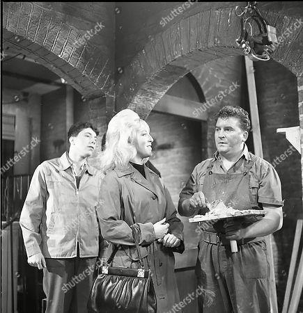 Douglas Austin (as Eddie Thomas), Joyce Lennox (as Yvonne Walsh) and Peter Adamson (as Len Fairclough)