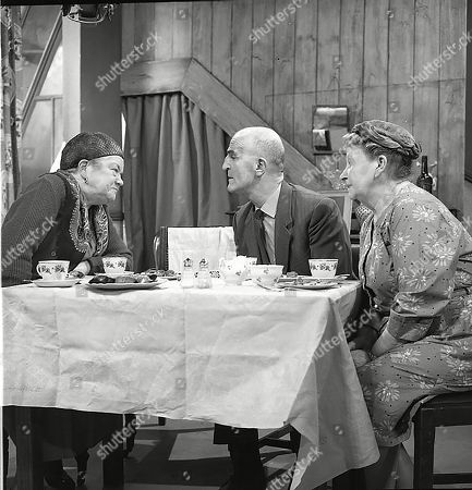 Violet Carson (as Ena Sharples), Jerrold Wells (as Ted Ashley) and Margot Bryant (as Minnie Caldwell)