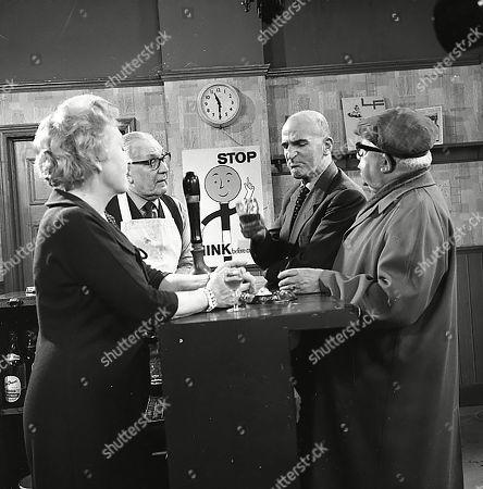 Doris Speed (as Annie Walker), Arthur Leslie (as Jack Walker), Jerrold Wells (as Ted Ashley) and Jack Howarth (as Albert Tatlock)