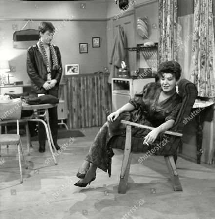 Christopher Sandford (as Walter Potts) and Pat Phoenix (as Elsie Tanner)