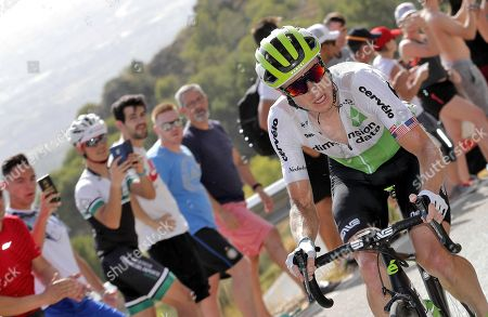 US cyclist Benjamin King of Dimension Data in action during the fourth stage of the La Vuelta 2018 cycling tour over 161.4km from Velez to Alfaguara Mountains, Spain, 28 August 2018.