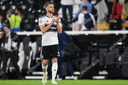 Calum Chambers of Fulham applauds the fans at the final whistle