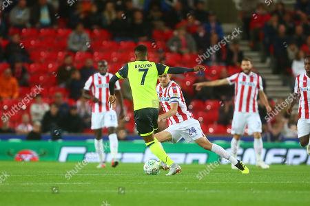 Stoke's Darren Fletcher in front of Carabao branding on the LED board