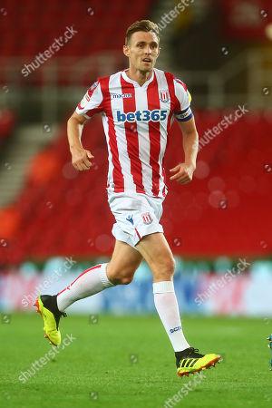 Stock Photo of Stoke's Darren Fletcher in front of Screwfix branding