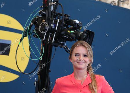 Daniela Hantuchova, presenter of Amazon Prime TV Tennis Coverage looks on