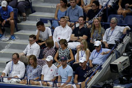 A view of Roger Federer's Player's Box as his wife Mirka Federer, his coaching team, Anna Wintour, Lynette Federer and Hugh Jackman with his wife Deborra-lee Furness look on.