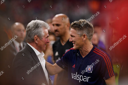 Stock Image of Chicago's Bastian Schweinsteiger (R) welcomes Munich's former head coach Jupp Heynckes (L) prior to the farewell soccer match of Bastian Schweinsteiger between Bayern Munich and Chicago Fire in Munich, Germany, 28 August 2018.
