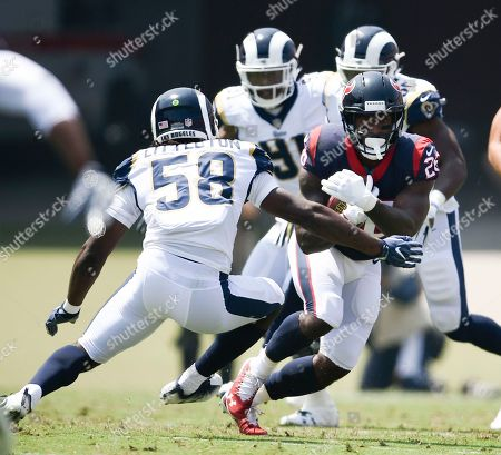Lamar Miller, Cory Littleton. Houston Texans running back Lamar Miller, right, runs then all defense day Los Angeles Rams linebacker Cory Littleton during the first half in an NFL preseason football game, in Los Angeles