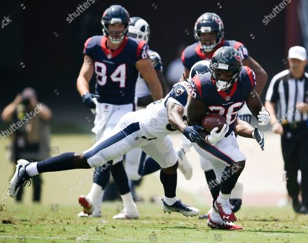 Stock Picture of Lamar Miller, Cory Littleton. Houston Texans running back Lamar Miller, right, runs then all defense day Los Angeles Rams linebacker Cory Littleton during the first half in an NFL preseason football game, in Los Angeles