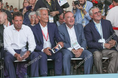 Stock Photo of Geoffroy Roux de Bezieux President of MEDEF, Patrick Martin President Delegue of MEDEF, Pierre Gattaz and Ernest-Antoine Seilliere