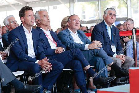 Stock Image of Geoffroy Roux de Bezieux President of MEDEF, Patrick Martin President Delegue of MEDEF, Pierre Gattaz and Ernest-Antoine Seilliere
