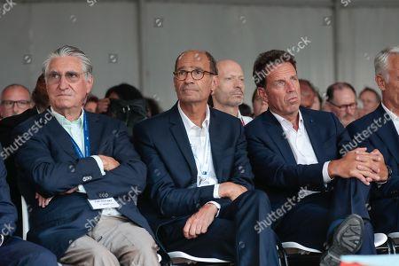 Ernest-Antoine Seilliere, Eric Woerth and Geoffroy Roux de Bezieux President of MEDEF