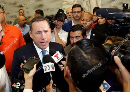 Stock Photo of Democratic gubernatorial candidate Philip Levine talks to the news media after giving a concession speech, in Miami