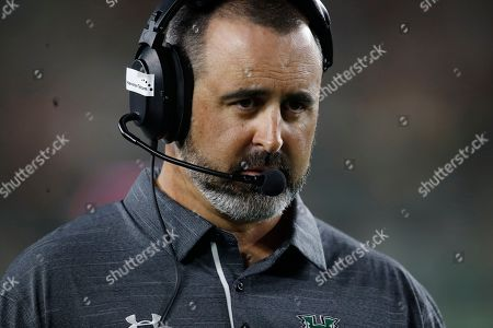 R m. Hawaii Warriors head coach Nick Rolovich in the second half of an NCAA college football game, in Fort Collins, Colo. Hawaii won 43-34