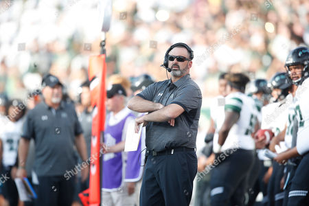 R m. Hawaii Warriors head coach nick rolovich in the first half of an NCAA college football game, in Fort Collins, Colo