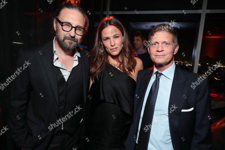 Stock Picture of Director Pierre Morel, Jennifer Garner and Robert Simonds, Chairman and CEO STX Entertainment