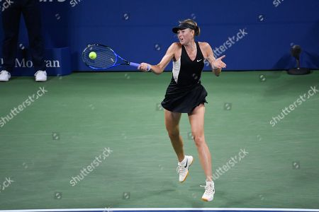 Maria Sharapova of Russia returns to Patty Schnyder from Switzerland in the 2nd of the match during the US Open Tennis Championships at the Louis Armstrong Stadium in Flushing Meadows, New York, USA, 28 August 2018. The US Open runs from 27 August through 09 September.
