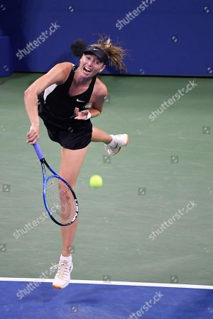 Maria Sharapova of Russia serves to Patty Schnyder from Switzerland in the 2nd set of a match during the US Open Tennis Championships at the Louis Armstrong Stadium in Flushing Meadows, New York, USA, 28 August 2018. The US Open runs from 27 August through 09 September.