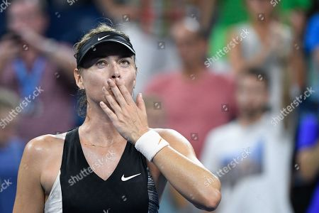 Maria Sharapova of Russia gestures to the crowd after defeating Patty Schnyder from Switzerland in 2 sets during the US Open Tennis Championships at the Louis Armstrong Stadium in Flushing Meadows, New York, USA, 28 August 2018. The US Open runs from 27 August through 09 September.