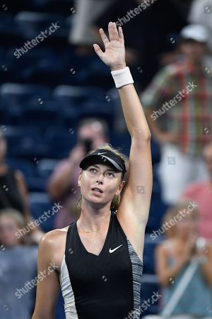 Maria Sharapova of Russia waves to crowd after defeating Patty Schnyder from Switzerland in 2 sets during the US Open Tennis Championships at the Louis Armstrong Stadium in Flushing Meadows, New York, USA, 28 August 2018. The US Open runs from 27 August through 09 September.