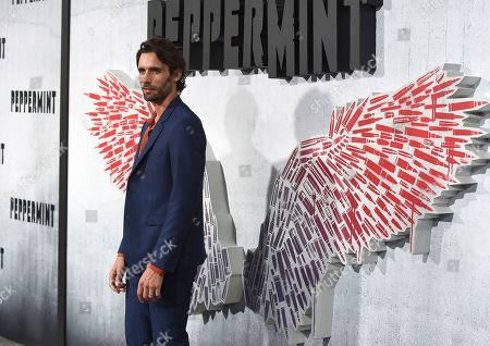 "Tyson Ritter arrives at the Los Angeles premiere of ""Peppermint"" on in Los Angeles"