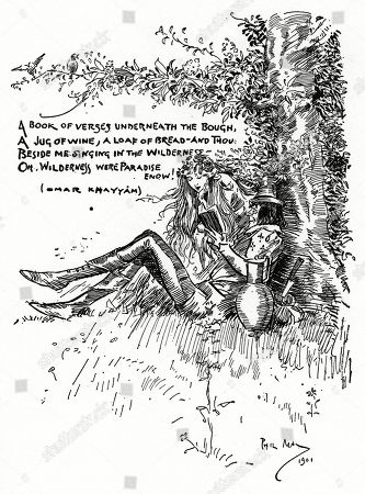 A Book of Verses Undeneah the Bough - A Jug of Wine A Loaf of Bread and Thou - Beside Me Singing in the Wilderness - Oh Wilderness Were Paradise Enow! (omar Khayyam). Illustration by Phil May From 'The Phil May Folio' (1904)
