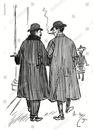 Phil May (on the Right): 'By the Way When Does Your American Tour Come Off?' Famous Actor: 'Oh not For About A Year'. Pm: 'Well Let's Go in Here and Have A Drink Before You Go.' !!!. Illustration by Phil May From 'The Phil May Folio' (1904)