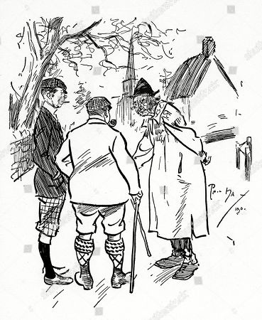 Thirsty Pedestrian - 'Is There A 'Pub' in This Village?' Ancient Villager - 'Noa! But There Be A Poomp!'. Illustration by Phil May From 'The Phil May Folio' (1904)