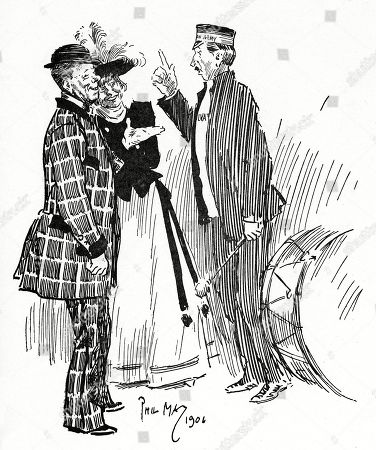 Salvation Army Captain: 'When the Serpent Tempted Eve' Bill: 'Oh Chuck It! There Wanted No Bloomin' Snake. He'd On'y Got to Say 'Here My Dear; Be Sure and Don't Youch Them 'Ere Happles ' and She'd Jolly Well Soon 'A Cleared the 'Ole Tree.'. Illustration by Phil May From 'The Phil May Folio' (1904)
