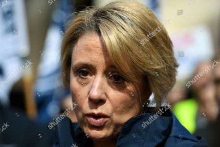 Labor Senator Kristina Keneally speaks at a delivery drivers rally ahead of a Foodora creditors meeting in Sydney, Australia, 29 August 2018. The protesters demand Foodora to pay wages the company still owes after pulling out of the country.
