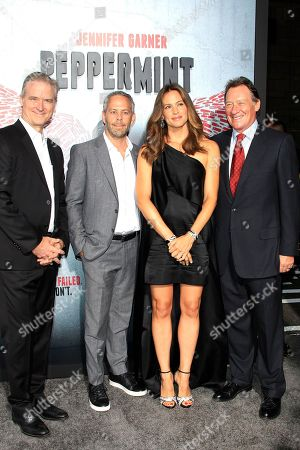 Stock Photo of US producers Richard Wright, Eric Reid, US actress/cast member Jennifer Garner, Gary Lucchesi arrive at the World Premiere of Peppermint at the Regal LA LIVE in Los Angeles, California, USA 28 August 2018. The movie opens in the US on 07 September 2018.