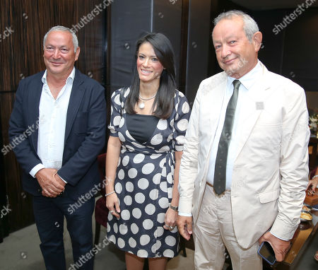 Egyptian Businessman Samih Sawiris (L), owner of El Gouna city, Egyptian Minister of Tourism Rania al-Mashat (C), and El Gouna Film Festival Founder, Egyptian Businessman Naguib Sawiris (R), attend El Gouna Film Festival press conference in Cairo, Egypt, 28 August 2018 (Issued 29 August 2018). The second edition of El Gouna Film Festival will be held between 20 to 28 September 2018 at the red sea city of El Gouna, 470km southeast of Cairo.
