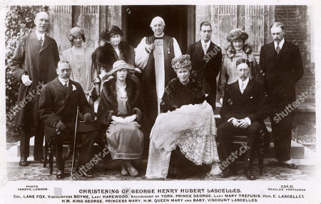 Stock Image of Hrh Princess Mary Princess Royal (1897-1965) Lord Lascelles (1882-1947) 6th Earl of Harewood and Their Son George Henry Hubert Lascelles (future 7th Earl of Harewood;1923-2011) On the Occasion of His Christening. the Christening Took Place On 25th March 1923 at St Mary's Church in the Village of Goldsborough Near Knaresborough Adjoining the Family Home Goldsborough Hall. Also Featured in This Group Are: King George V (1865-1936) Colonel Lane Fox Vicountess Boyne Lady Harewood the Archbishop of York Prince George Lady Mary Trefusis Hon. E. Lascelles and Queen Mary (holding George Henry Hubert). . Photo by Vandyk Reproduced On A Beagles' Postcard