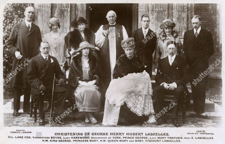 Stock Picture of Christening of George Henry Hubert Lascelles (1923-2011 7th Earl of Harewood) Group Photo with Colonel Lane Fox Viscountess Boyne Lady Harewood Archbishop of York Prince George (duke of Kent) Lady Mary Trefusis Hon E Lascelles King George V Princess Mary (mother) Queen Mary and Baby Viscount Henry Lascelles 6th Earl of Harewood (father). . Beagles Postcard