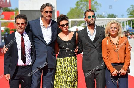 (L-R) Italian director Alessio Cremonini, Italian actors/cast members Max Tortora, Jasmine Trinca, Alessandro Borghi and Milvia Marigliano arrive for the premiere of  'Sulla mia pelle' during the 75th Venice Film Festival in Venice, Italy, 29 August 2018. The movie is presented in the Orizzonti section at the festival running from 29 August to 08 September.