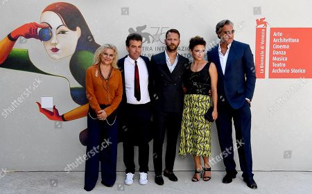 (L-R) Italian actress/cast member Milvia Marigliano, Italian director Alessio Cremonini, Italian actors/cast members Alessandro Borghi, Jasmine Trinca and Max Tortora arrive for the premiere of  'Sulla mia pelle' during the 75th Venice Film Festival in Venice, Italy, 29 August 2018. The movie is presented in the Orizzonti section at the festival running from 29 August to 08 September.