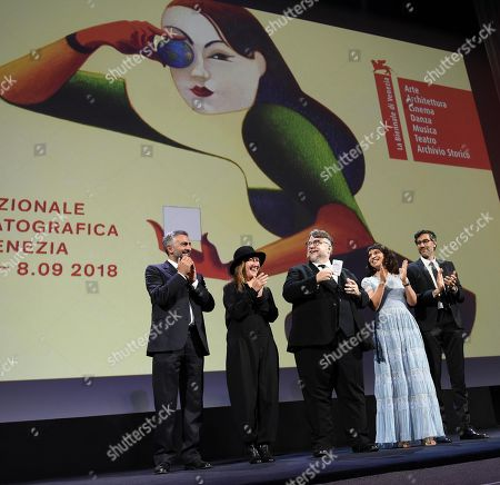 The presidents of Juries (L-R) Salvatore Mereu, Athina Tsangari, Guillermo del Toro, Susanne Bier and Ramin Bahrani stand on stage during the opening ceremony of the 75th Venice Film Festival and screening of 'First Maní by Damien Chazelle, in Venice, Italy, 29 August 2018. The festival runs from 29 August to 08 September.