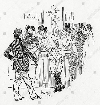 First Budding Actor (to Second Budding Actor) - 'Oh Yes You Hear About Those Salaries of Twenty-five and Thirty Shillings But You Never Get 'Em.'. Illustration by Phil May From 'The Phil May Folio' (1904)
