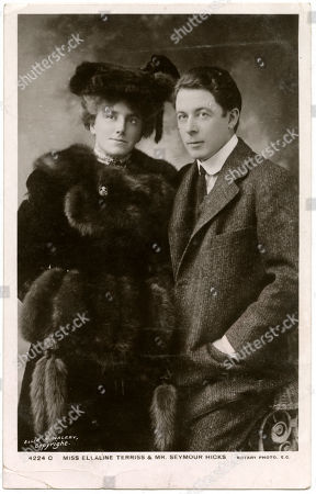 Ellaline Terriss (1871 - 1971) English Actress and Singer with Her Husband Seymour Hicks (1871 - 1949) English Actor Music Hall Performer Playwright Screenwriter. Photograph by Ellis & Walery On A Rotary Postcard