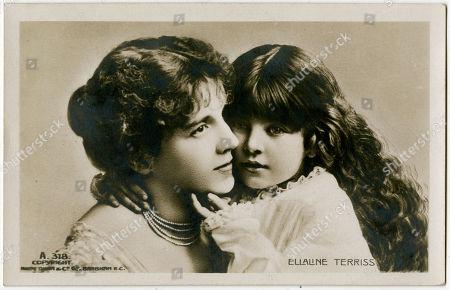 Ellaline Terriss with Her Daughter. Postcard
