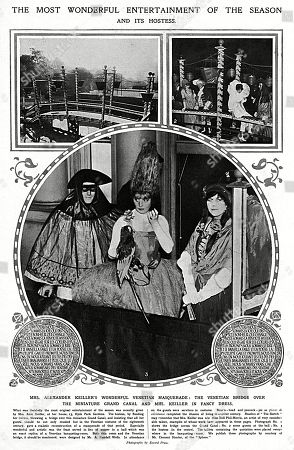 Page From the Sketch Reporting On A Lavish Party Hosted by Mrs Alexander Keiller Formerly Miss Doll Phil-morris the Artist. the Party On the Theme of A Venetian Masquerade Saw Her Flood the Terrace of Her Garden at 13 Hyde Park Gardens and Erect A Miniature Grand Canal. the Party is A Glorious Example of the Final Golden Summer Enjoyed by the Upper Classes and Society Before the Outbreak of War in 1914. . Page From the Sketch, 22 July 1914