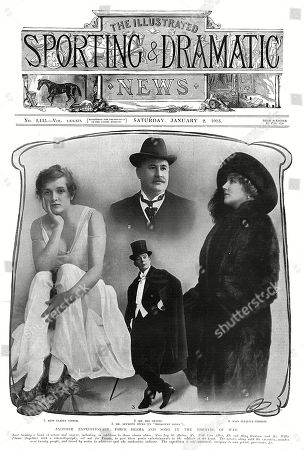 Stock Photo of Front Cover of the Illustrated Sporting and Dramatic News Featuring Portraits of Four of the Actors and Actresses Forming Part of A Concert Party Bound For the Front to Entertain the Troops. On the Left is Gladys Cooper and On the Right Ellaline Terriss. Top of Ben Davies and Bottom is Seymour Hicks Who Organised the Expedition. As Well As the Four Pictured There Were Other Performers A Cinematographer and Executive Amounting to Over Twenty People. They Motored Around France and Carried Their Own Petrol and Provisions. . Front Cover of the Illustrated Sporting and Dramatic News, 2 January 1915