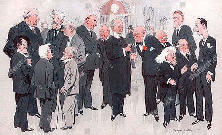 Stock Photo of Some Prominent Parliamentary Personalities Pictured in the Lobby of the House of Commons. in the Left Foreground Are Messrs.a. Maclaren J. R. Clynes and Philip Snowden. Behind Them Looms the Massive Bulk of the Genial Tom Shaw (who Was Labour Minister in the Socialist Government) Talking to Ramsay Macdonald and Mr J. H. Thomas. in the Centre Sir Robert Horne Discusses Finance with Stanley Baldwin and Sir William Joynson-hicks Discusses 'Anything But D.o.r.a' with Mr Winston Churchill. in the Right Foreground the Volatile Mr David Lloyd George and the Immaculate Mr. E. Rosslyn Mitchell Engage Sir Oswald Mosley 'The Little Lord Fauntleroy of the Socialist Party' in Polite Conversation. Behind Them Mr W. C. Bridgeman and Lord Eustace Percy Talk Together. . Illustration by George Whitelaw in the Bystander, 29 May 1929