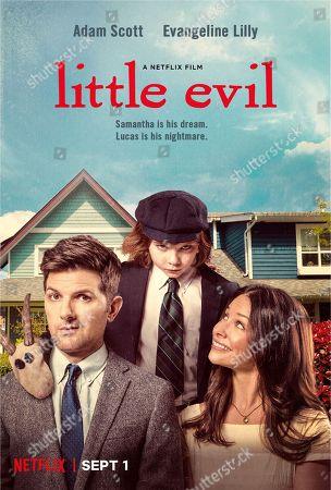 Little Evil (2017) Poster Art Adam Scott as Gary, Owen Atlas as Lucas, Evangeline Lilly as Samantha