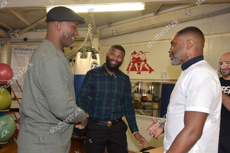 Lennox Lewis with Badou Jack and Spencer Fearon during Lennox Lewis Press Day at the Peacock Gym on 29th August 2018